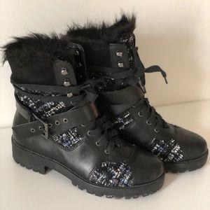 Nine West Women's Orithna Leather combat Boots